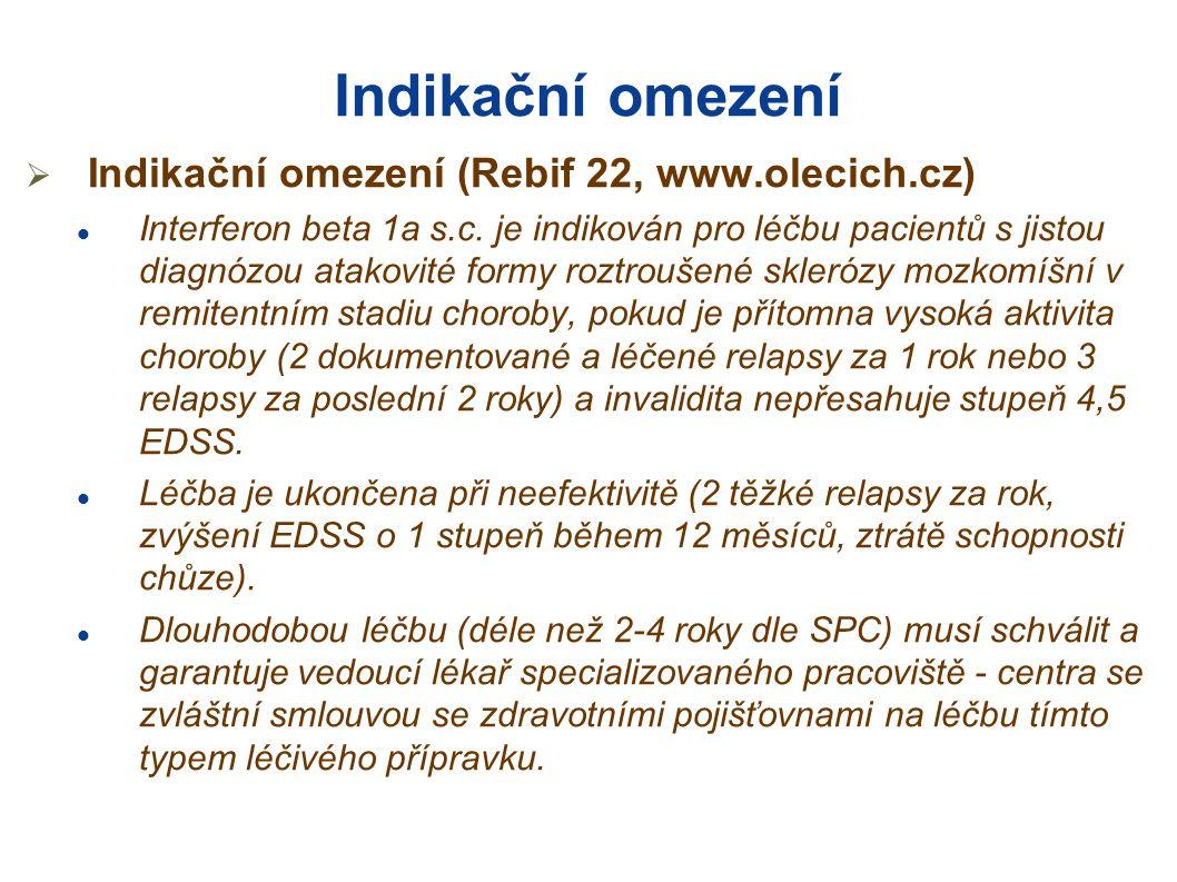 Indikační omezení  Indikační omezení (Rebif 22, www.olecich.cz)  Interferon beta 1a s.c. je indikován pro léčbu pacientů s jistou diagnózou atakovit