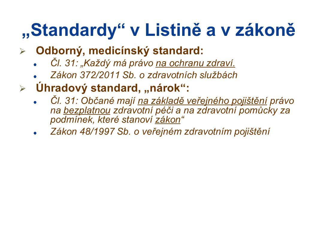 """""""Standardy"""" v Listině a v zákoně  Odborný, medicínský standard:  Čl. 31: """"Každý má právo na ochranu zdraví.  Zákon 372/2011 Sb. o zdravotních služb"""