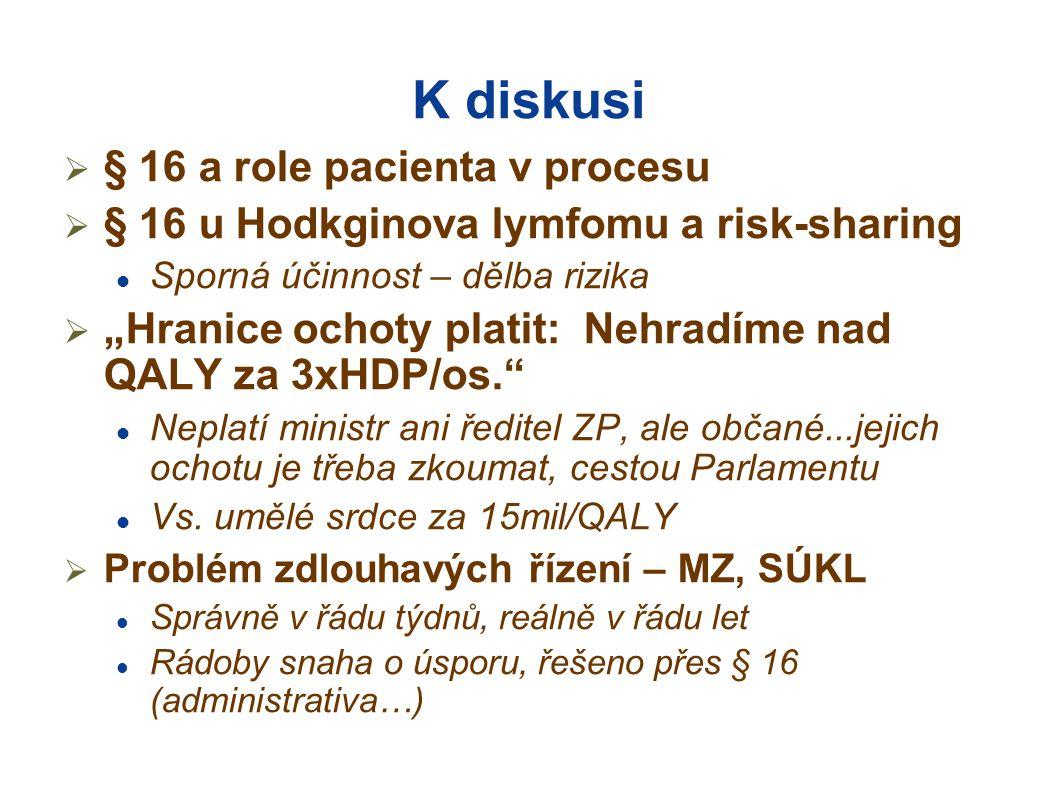 """K diskusi  § 16 a role pacienta v procesu  § 16 u Hodkginova lymfomu a risk-sharing  Sporná účinnost – dělba rizika  """"Hranice ochoty platit: Nehradíme nad QALY za 3xHDP/os.  Neplatí ministr ani ředitel ZP, ale občané...jejich ochotu je třeba zkoumat, cestou Parlamentu  Vs."""