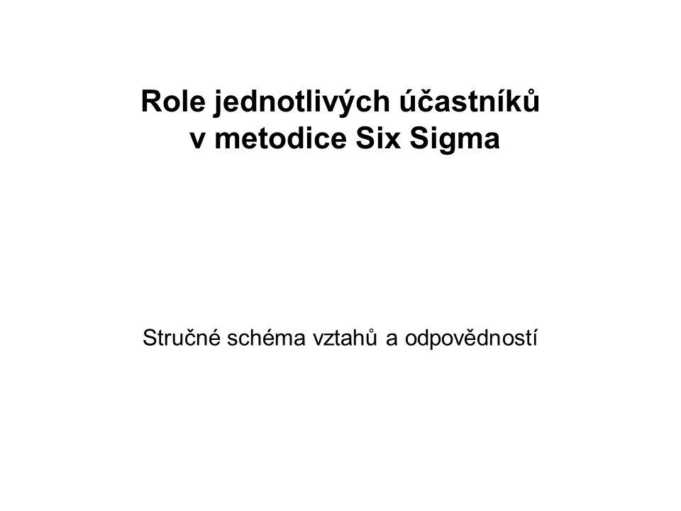 Role jednotlivých účastníků v metodice Six Sigma Stručné schéma vztahů a odpovědností