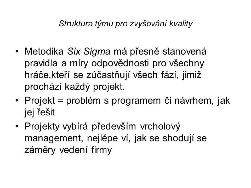 Struktura týmu pro zvyšování kvality •Metodika Six Sigma má přesně stanovená pravidla a míry odpovědnosti pro všechny hráče,kteří se zúčastňují všech