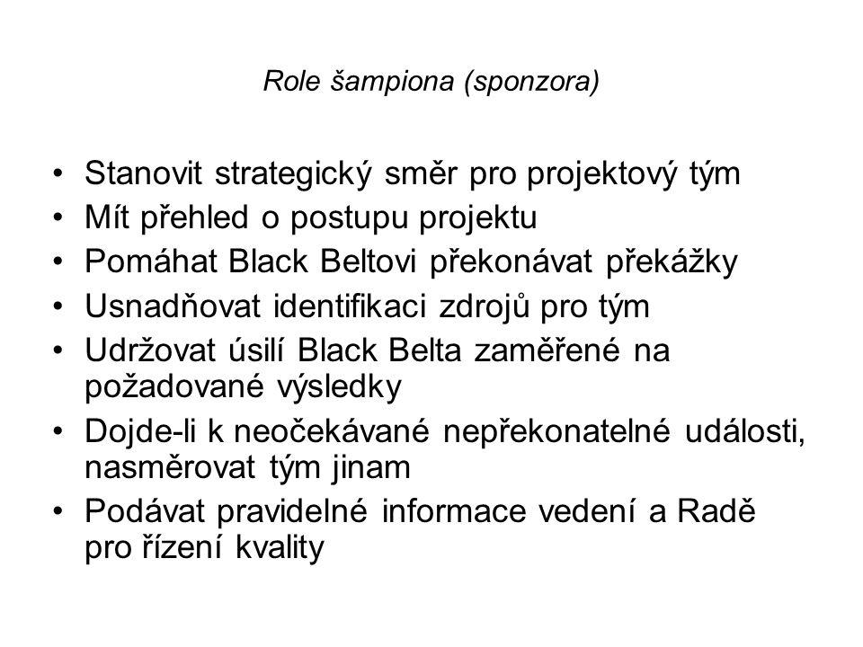 Role šampiona (sponzora) •Stanovit strategický směr pro projektový tým •Mít přehled o postupu projektu •Pomáhat Black Beltovi překonávat překážky •Usn
