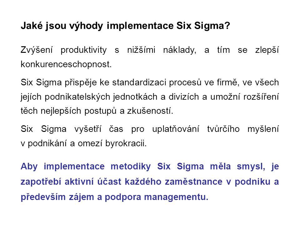 Jaké jsou výhody implementace Six Sigma? Zvýšení produktivity s nižšími náklady, a tím se zlepší konkurenceschopnost. Six Sigma přispěje ke standardiz