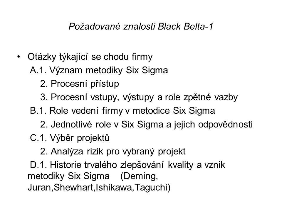 Požadované znalosti Black Belta-1 •Otázky týkající se chodu firmy A.1. Význam metodiky Six Sigma 2. Procesní přístup 3. Procesní vstupy, výstupy a rol
