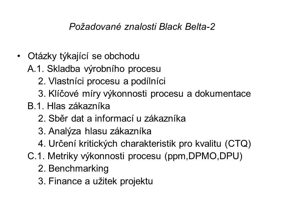 Požadované znalosti Black Belta-2 •Otázky týkající se obchodu A.1. Skladba výrobního procesu 2. Vlastníci procesu a podílníci 3. Klíčové míry výkonnos