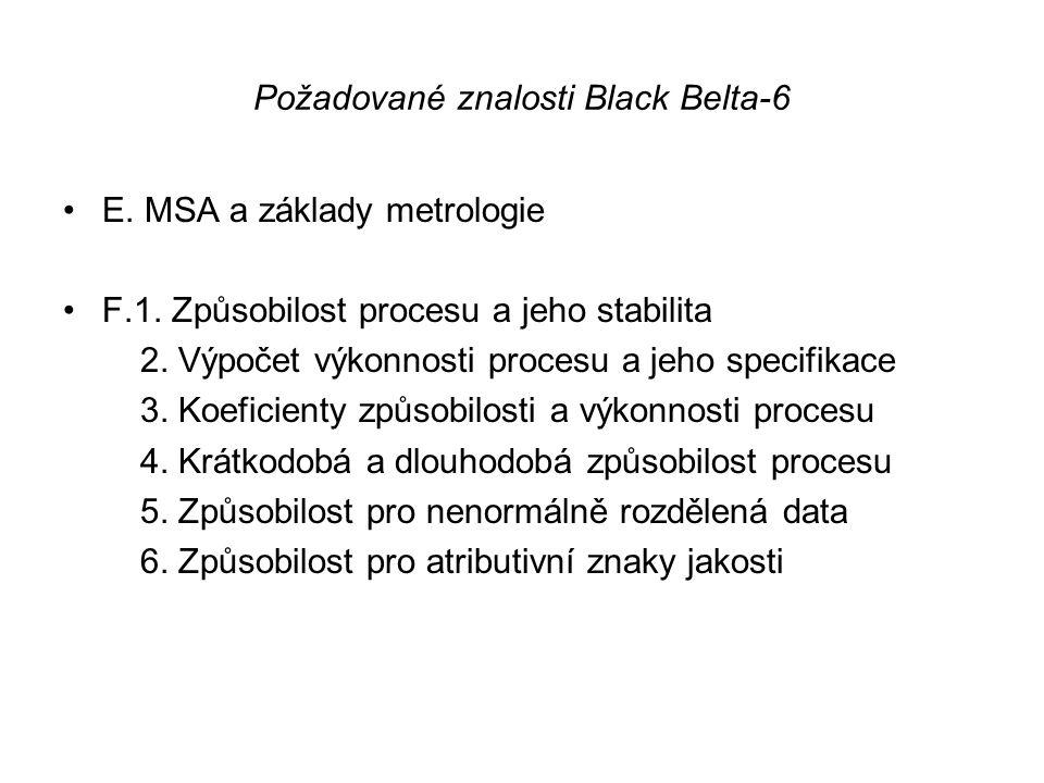 Požadované znalosti Black Belta-6 •E. MSA a základy metrologie •F.1. Způsobilost procesu a jeho stabilita 2. Výpočet výkonnosti procesu a jeho specifi