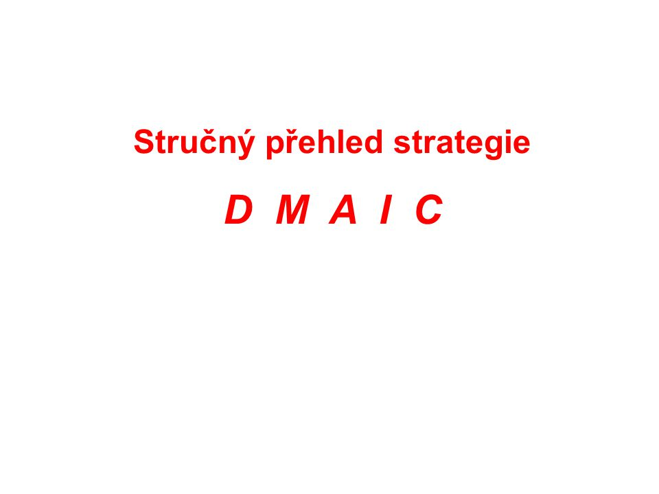 Stručný přehled strategie D M A I C