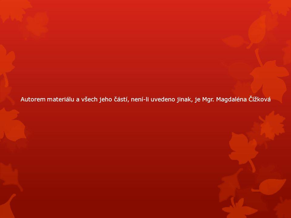 Autorem materiálu a všech jeho částí, není-li uvedeno jinak, je Mgr. Magdaléna Čížková
