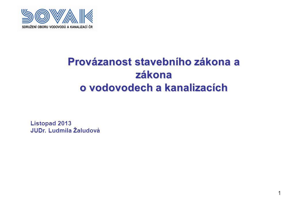 1 Provázanost stavebního zákona a zákona o vodovodech a kanalizacích Listopad 2013 JUDr. Ludmila Žaludová ;