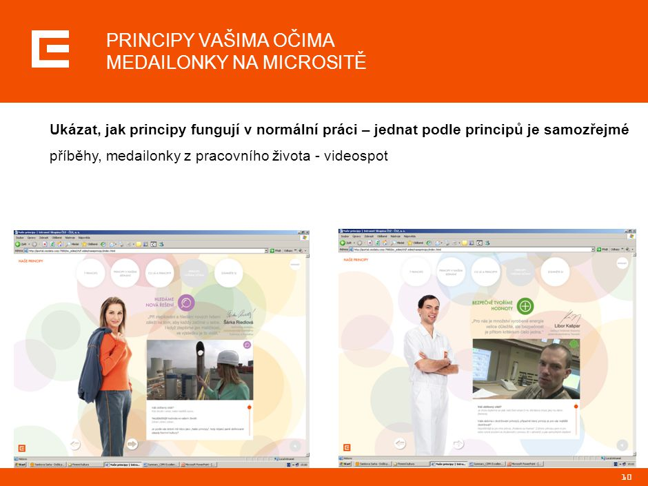 10 PRINCIPY VAŠIMA OČIMA MEDAILONKY NA MICROSITĚ Ukázat, jak principy fungují v normální práci – jednat podle principů je samozřejmé příběhy, medailonky z pracovního života - videospot