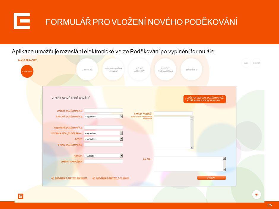 25 FORMULÁŘ PRO VLOŽENÍ NOVÉHO PODĚKOVÁNÍ Aplikace umožňuje rozeslání elektronické verze Poděkování po vyplnění formuláře