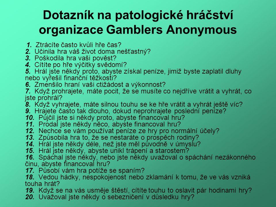 Dotazník na patologické hráčství organizace Gamblers Anonymous 1.