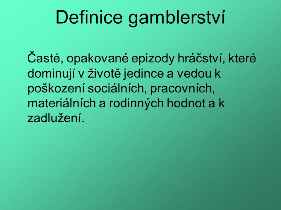 Definice gamblerství Časté, opakované epizody hráčství, které dominují v životě jedince a vedou k poškození sociálních, pracovních, materiálních a rodinných hodnot a k zadlužení.