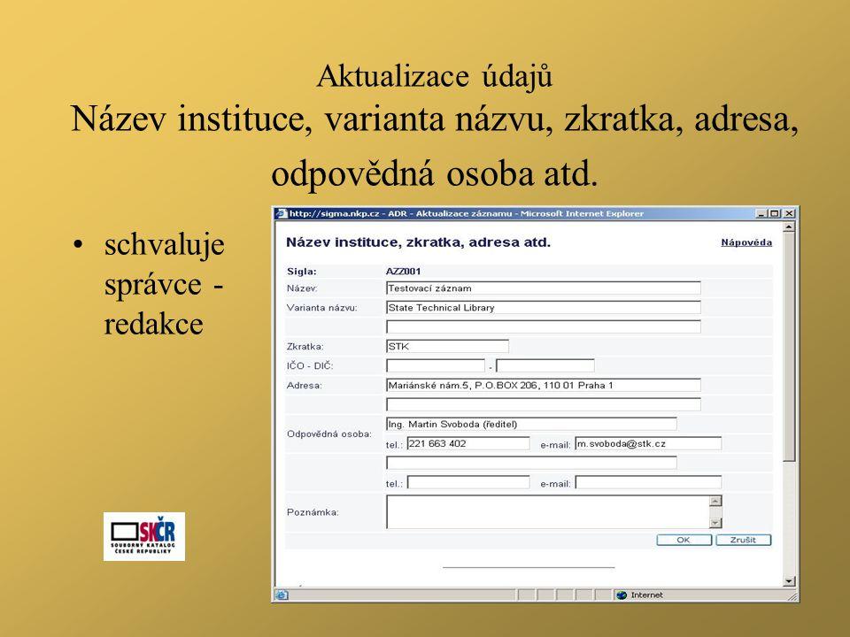 Aktualizace údajů Název instituce, varianta názvu, zkratka, adresa, odpovědná osoba atd.