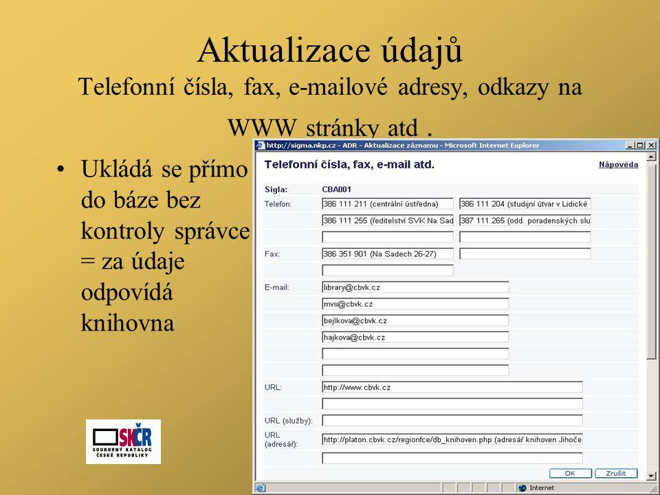Aktualizace údajů Telefonní čísla, fax, e-mailové adresy, odkazy na WWW stránky atd.