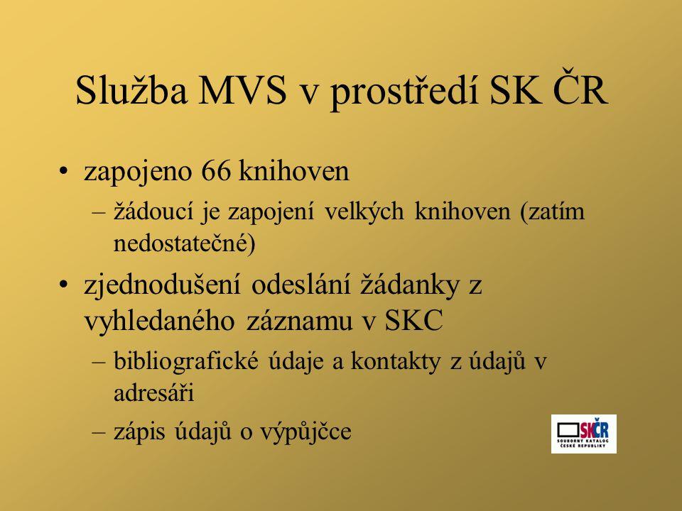 Služba MVS v prostředí SK ČR •zapojeno 66 knihoven –žádoucí je zapojení velkých knihoven (zatím nedostatečné) •zjednodušení odeslání žádanky z vyhledaného záznamu v SKC –bibliografické údaje a kontakty z údajů v adresáři –zápis údajů o výpůjčce