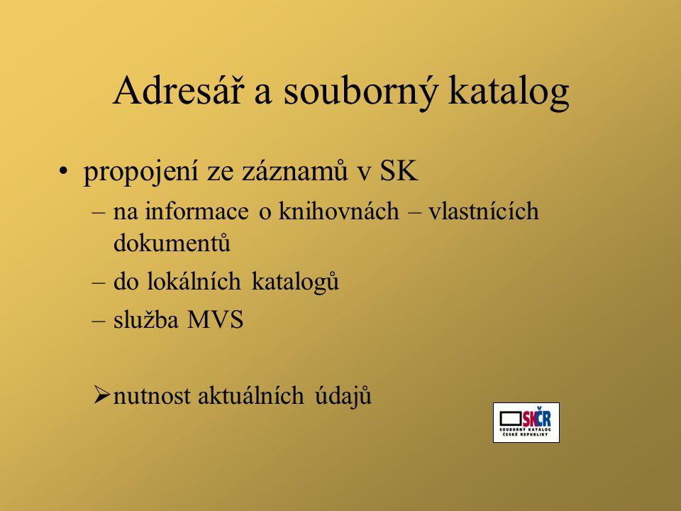 Adresář a souborný katalog •propojení ze záznamů v SK –na informace o knihovnách – vlastnících dokumentů –do lokálních katalogů –služba MVS  nutnost aktuálních údajů