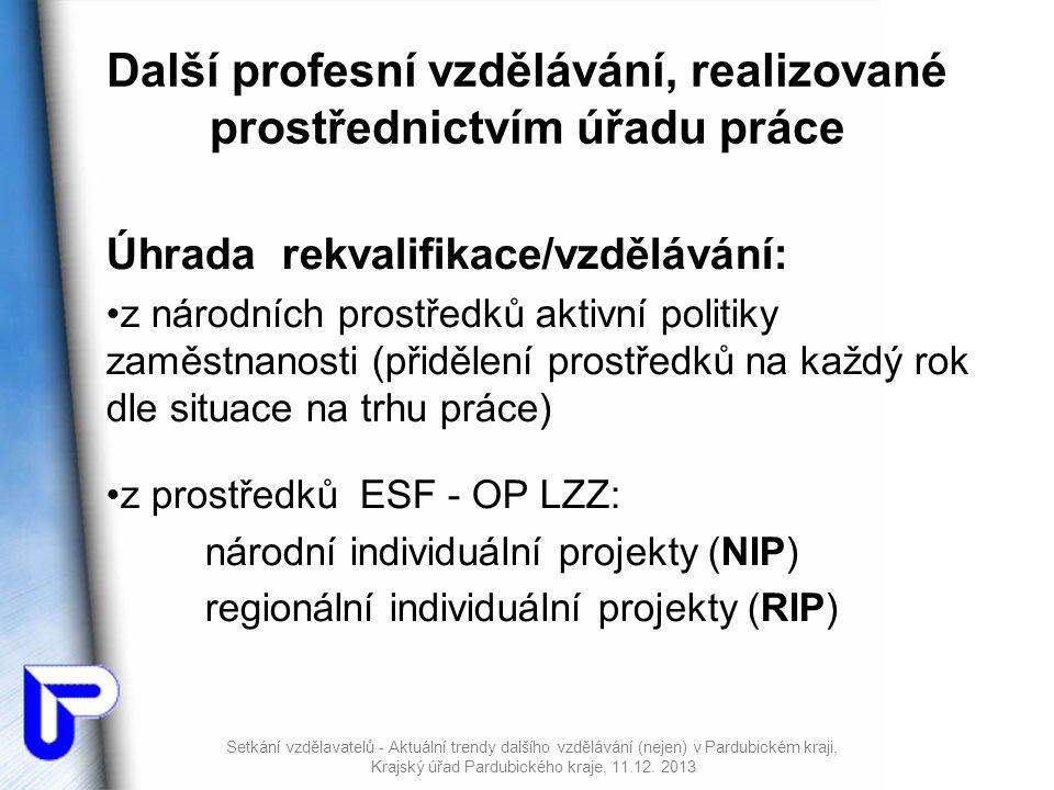 Další profesní vzdělávání, realizované prostřednictvím úřadu práce Úhrada rekvalifikace/vzdělávání: •z národních prostředků aktivní politiky zaměstnanosti (přidělení prostředků na každý rok dle situace na trhu práce) •z prostředků ESF - OP LZZ: národní individuální projekty (NIP) regionální individuální projekty (RIP) Setkání vzdělavatelů - Aktuální trendy dalšího vzdělávání (nejen) v Pardubickém kraji, Krajský úřad Pardubického kraje, 11.12.
