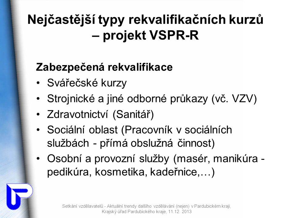 Nejčastější typy rekvalifikačních kurzů – projekt VSPR-R Zabezpečená rekvalifikace •Svářečské kurzy •Strojnické a jiné odborné průkazy (vč.
