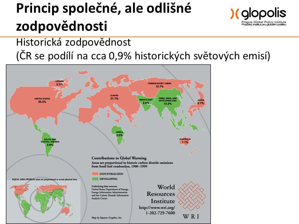 Princip společné, ale odlišné zodpovědnosti Historická zodpovědnost (ČR se podílí na cca 0,9% historických světových emisí)