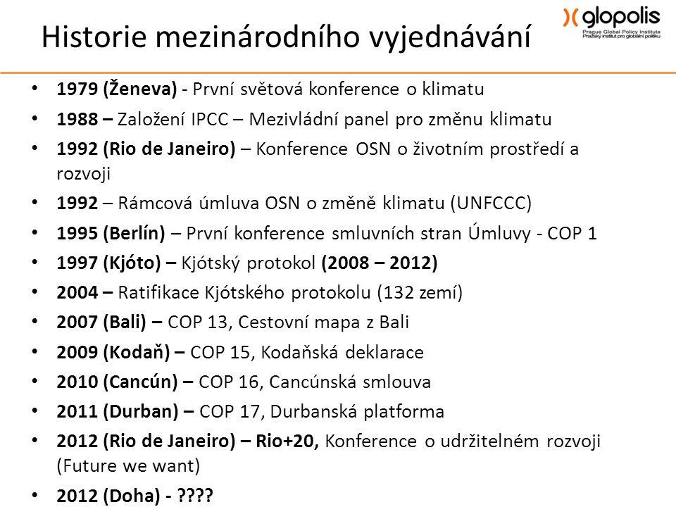 Historie mezinárodního vyjednávání • 1979 (Ženeva) - První světová konference o klimatu • 1988 – Založení IPCC – Mezivládní panel pro změnu klimatu • 1992 (Rio de Janeiro) – Konference OSN o životním prostředí a rozvoji • 1992 – Rámcová úmluva OSN o změně klimatu (UNFCCC) • 1995 (Berlín) – První konference smluvních stran Úmluvy - COP 1 • 1997 (Kjóto) – Kjótský protokol (2008 – 2012) • 2004 – Ratifikace Kjótského protokolu (132 zemí) • 2007 (Bali) – COP 13, Cestovní mapa z Bali • 2009 (Kodaň) – COP 15, Kodaňská deklarace • 2010 (Cancún) – COP 16, Cancúnská smlouva • 2011 (Durban) – COP 17, Durbanská platforma • 2012 (Rio de Janeiro) – Rio+20, Konference o udržitelném rozvoji (Future we want) • 2012 (Doha) -