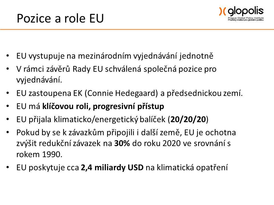 Pozice a role EU • EU vystupuje na mezinárodním vyjednávání jednotně • V rámci závěrů Rady EU schválená společná pozice pro vyjednávání.