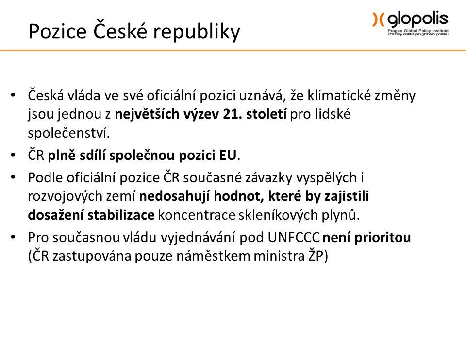 Pozice České republiky • Česká vláda ve své oficiální pozici uznává, že klimatické změny jsou jednou z největších výzev 21.