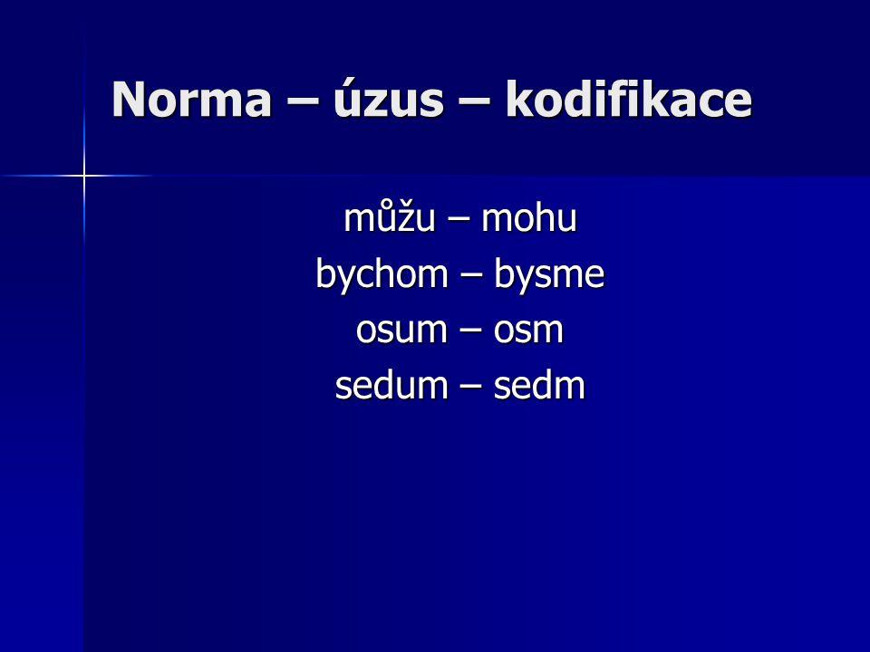Norma – úzus – kodifikace můžu – mohu bychom – bysme osum – osm sedum – sedm
