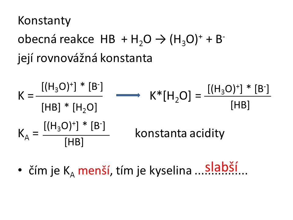 Konstanty obecná reakce HB + H 2 O → (H 3 O) + + B - její rovnovážná konstanta K = K*[H 2 O] = K A = konstanta acidity • čím je K A menší, tím je kyse