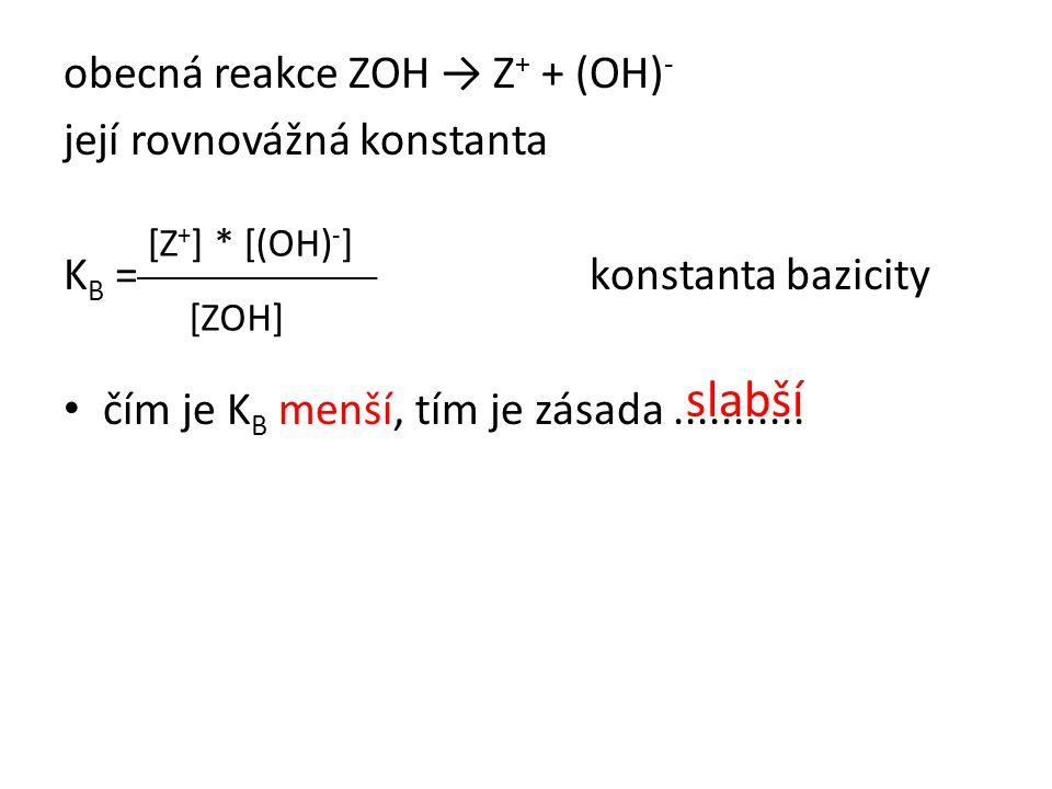 obecná reakce ZOH → Z + + (OH) - její rovnovážná konstanta K B = konstanta bazicity • čím je K B menší, tím je zásada........... [Z + ] * [(OH) - ] [Z