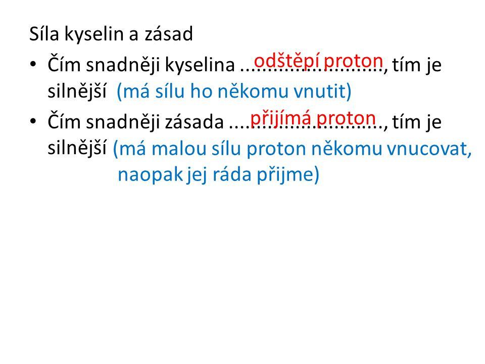 Orientační určení síly kyselin Čím větší převaha................................, tím je kyselina silnější.