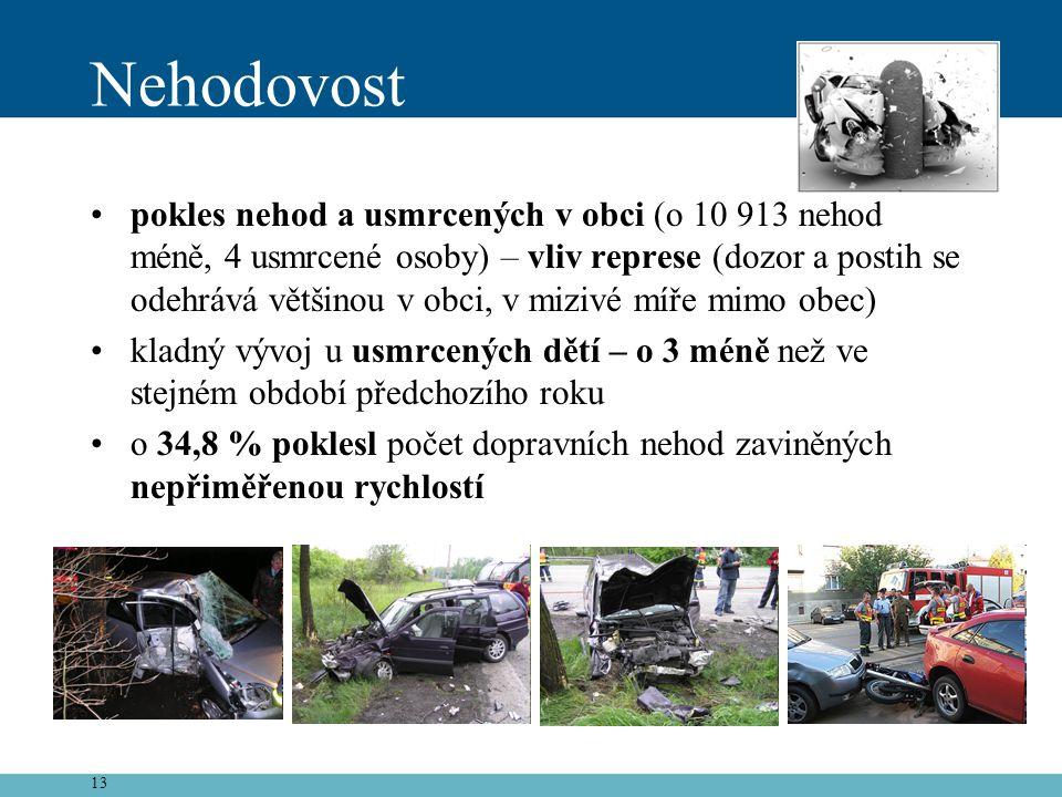 13 Nehodovost •pokles nehod a usmrcených v obci (o 10 913 nehod méně, 4 usmrcené osoby) – vliv represe (dozor a postih se odehrává většinou v obci, v