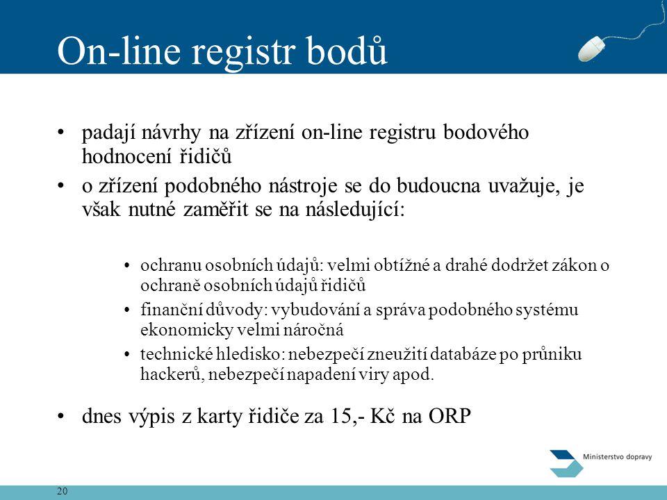 20 On-line registr bodů •padají návrhy na zřízení on-line registru bodového hodnocení řidičů •o zřízení podobného nástroje se do budoucna uvažuje, je