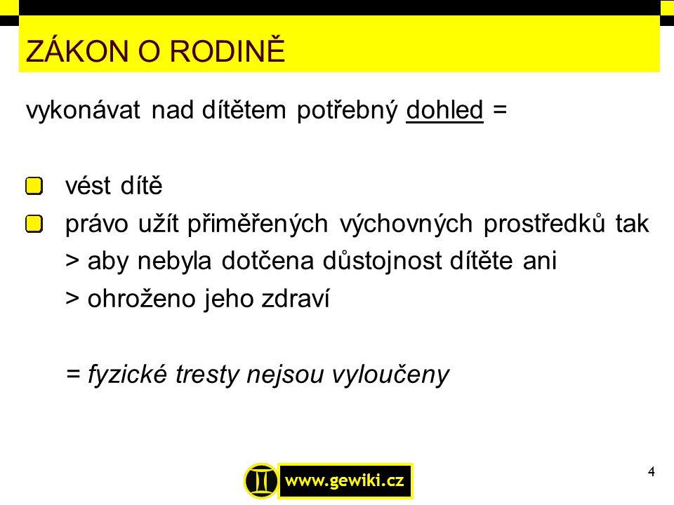 www.gewiki.cz ZÁKON O RODINĚ vykonávat nad dítětem potřebný dohled = vést dítě právo užít přiměřených výchovných prostředků tak > aby nebyla dotčena d