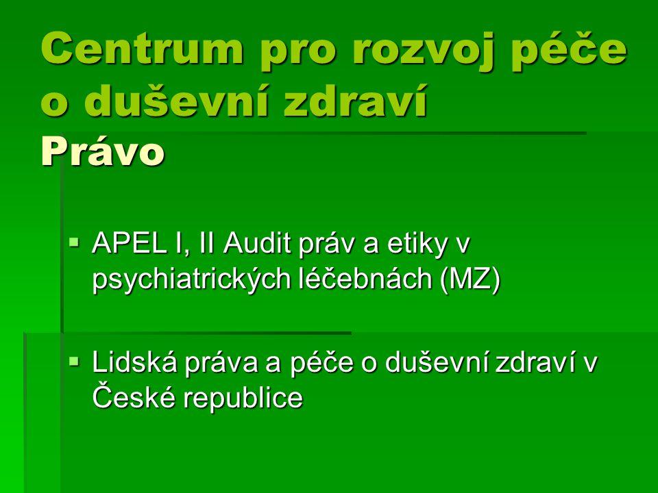 Centrum pro rozvoj péče o duševní zdraví Právo Centrum pro rozvoj péče o duševní zdraví Právo  APEL I, II Audit práv a etiky v psychiatrických léčebnách (MZ)  Lidská práva a péče o duševní zdraví v České republice