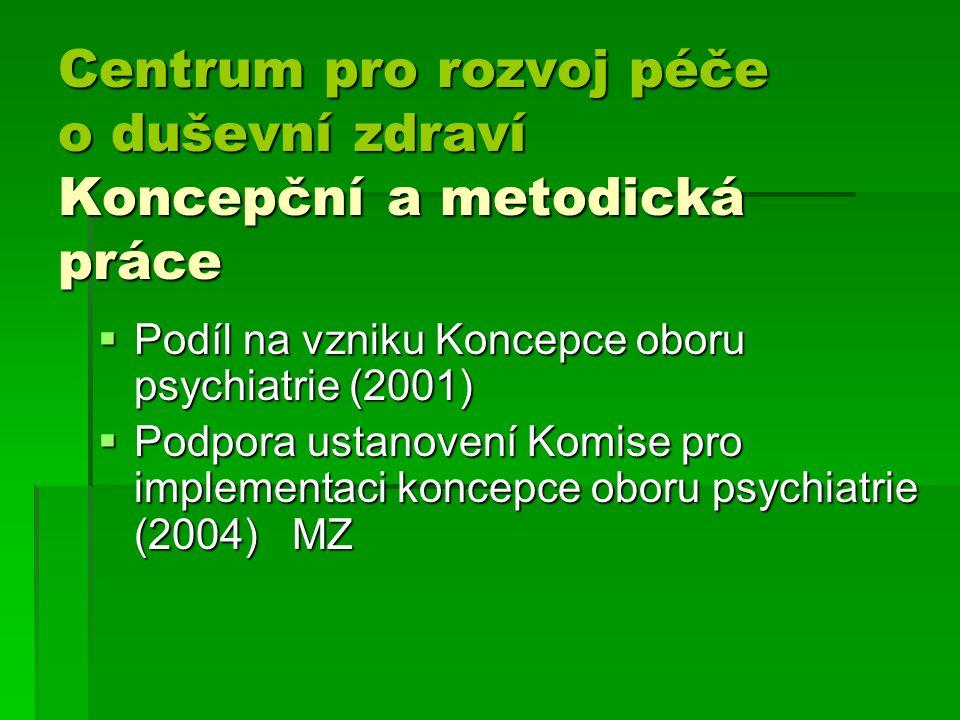 Centrum pro rozvoj péče o duševní zdraví Koncepční a metodická práce Centrum pro rozvoj péče o duševní zdraví Koncepční a metodická práce  Podíl na vzniku Koncepce oboru psychiatrie (2001)  Podpora ustanovení Komise pro implementaci koncepce oboru psychiatrie (2004) MZ