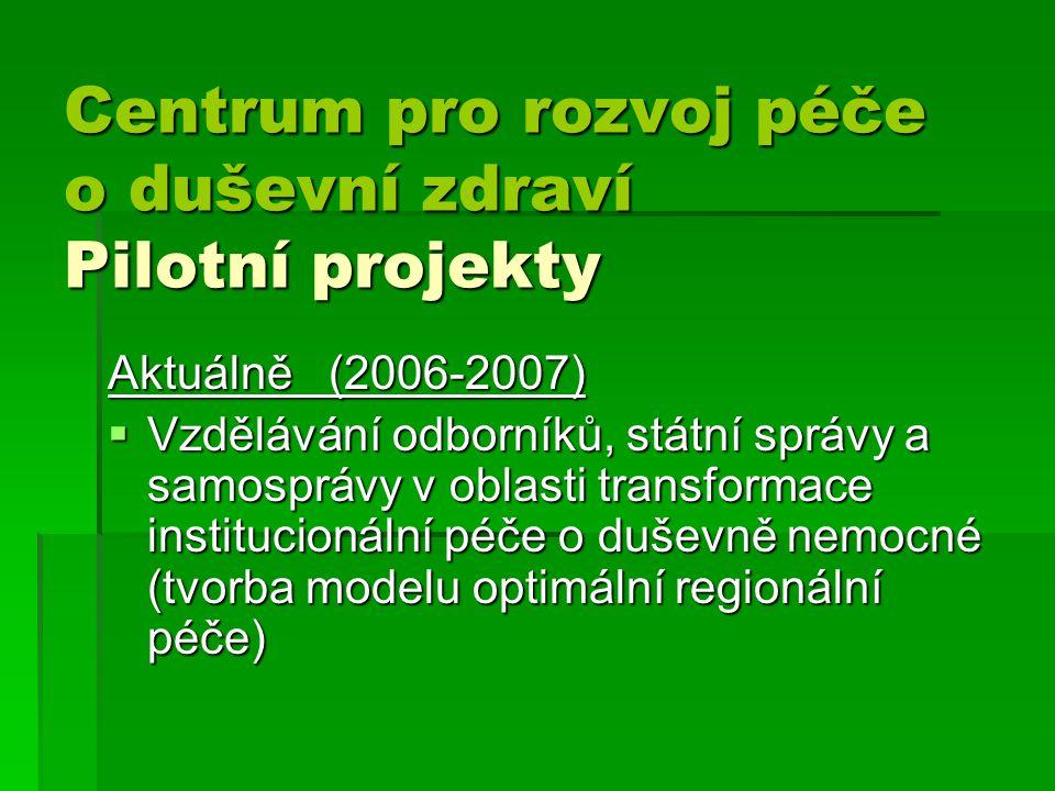 Centrum pro rozvoj péče o duševní zdraví Pilotní projekty Centrum pro rozvoj péče o duševní zdraví Pilotní projekty Aktuálně (2006-2007)  Vzdělávání