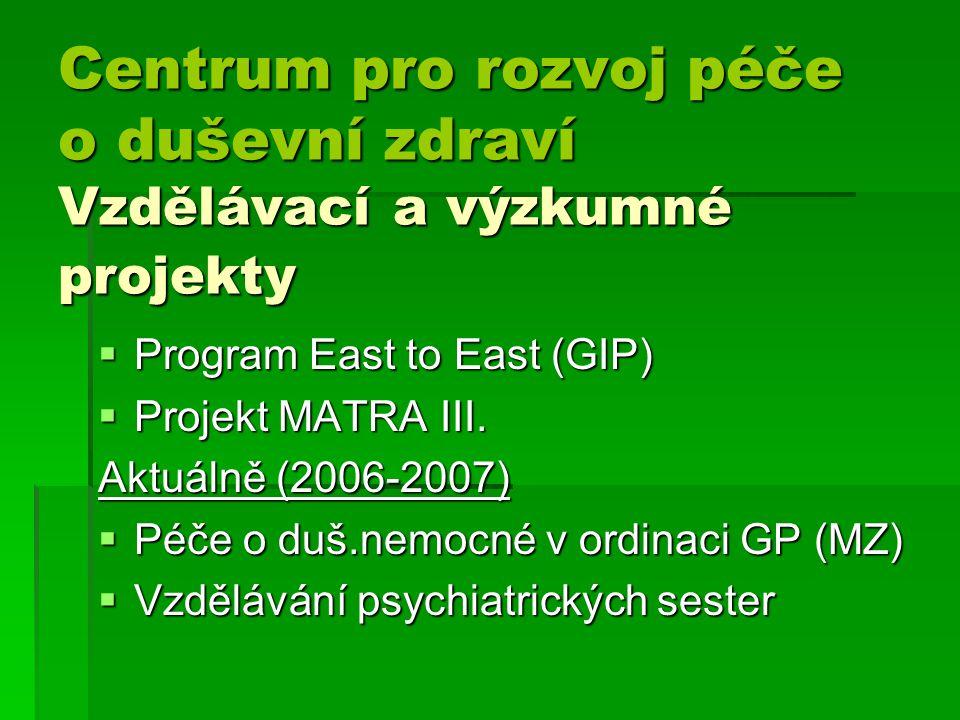 Centrum pro rozvoj péče o duševní zdraví Vzdělávací a výzkumné projekty Centrum pro rozvoj péče o duševní zdraví Vzdělávací a výzkumné projekty  Program East to East (GIP)  Projekt MATRA III.