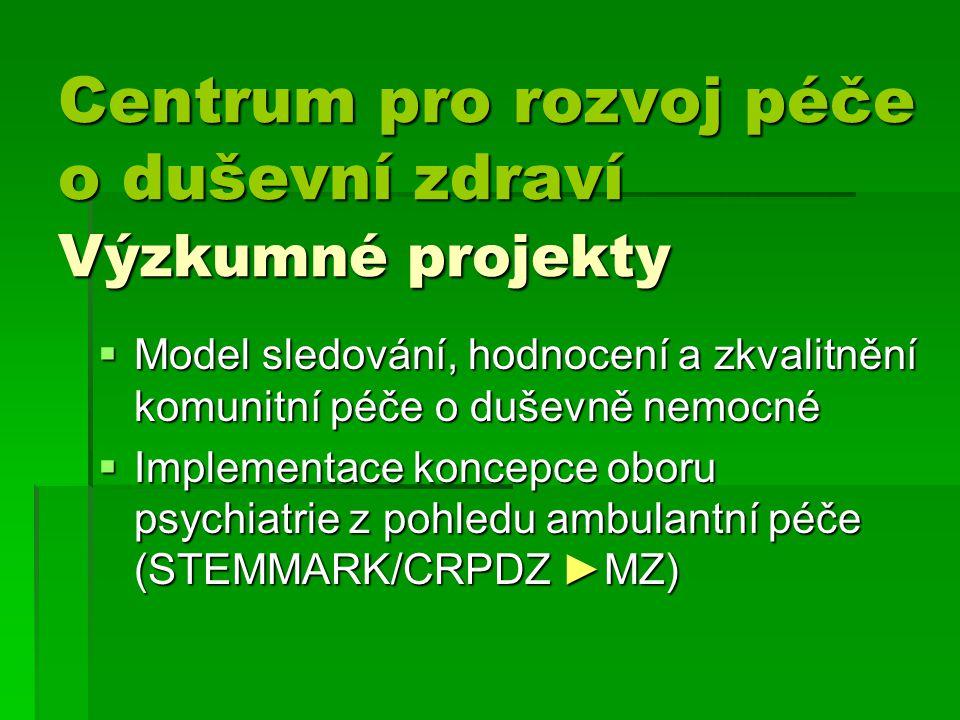 Centrum pro rozvoj péče o duševní zdraví Výzkumné projekty Centrum pro rozvoj péče o duševní zdraví Výzkumné projekty  Model sledování, hodnocení a zkvalitnění komunitní péče o duševně nemocné  Implementace koncepce oboru psychiatrie z pohledu ambulantní péče (STEMMARK/CRPDZ ►MZ)