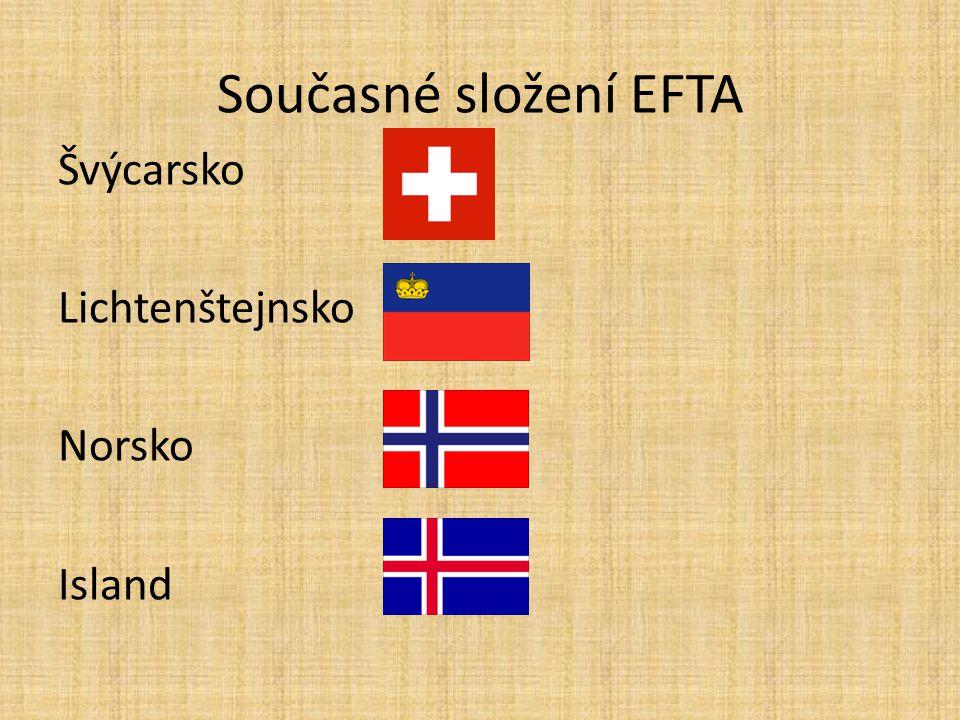 Současné složení EFTA Švýcarsko Lichtenštejnsko Norsko Island
