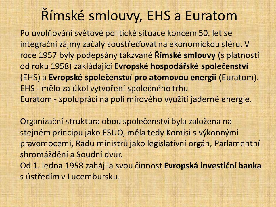 Římské smlouvy, EHS a Euratom Po uvolňování světové politické situace koncem 50. let se integrační zájmy začaly soustřeďovat na ekonomickou sféru. V r