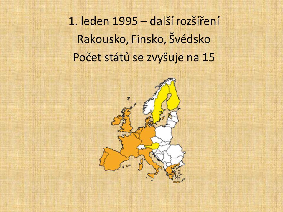 1. leden 1995 – další rozšíření Rakousko, Finsko, Švédsko Počet států se zvyšuje na 15