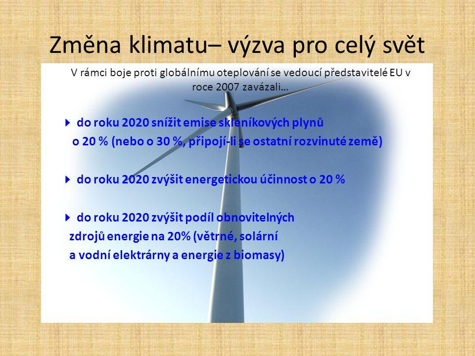 Změna klimatu– výzva pro celý svět V rámci boje proti globálnímu oteplování se vedoucí představitelé EU v roce 2007 zavázali…  do roku 2020 snížit em