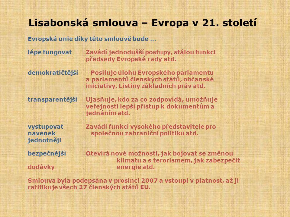 Lisabonská smlouva – Evropa v 21. století Evropská unie díky této smlouvě bude … lépe fungovatZavádí jednodušší postupy, stálou funkci předsedy Evrops