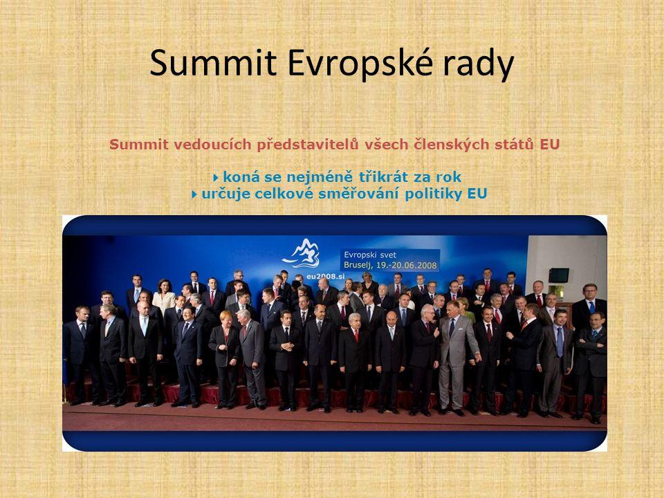 Summit Evropské rady Summit vedoucích představitelů všech členských států EU  koná se nejméně třikrát za rok  určuje celkové směřování politiky EU