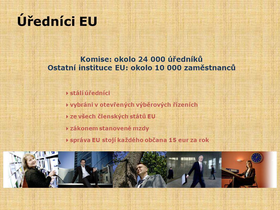 Úředníci EU Komise: okolo 24 000 úředníků Ostatní instituce EU: okolo 10 000 zaměstnanců  stálí úředníci  vybráni v otevřených výběrových řízeních 