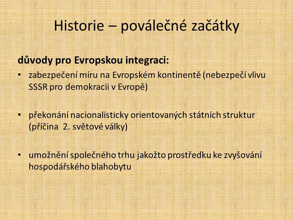 Historie – poválečné začátky důvody pro Evropskou integraci: • zabezpečení míru na Evropském kontinentě (nebezpečí vlivu SSSR pro demokracii v Evropě)