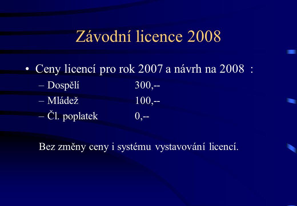 Závodní licence 2008 •Ceny licencí pro rok 2007 a návrh na 2008 : –Dospělí 300,-- –Mládež100,-- –Čl.