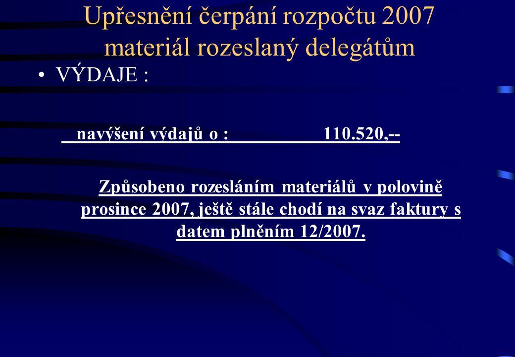 Upřesnění čerpání rozpočtu 2007 materiál rozeslaný delegátům •VÝDAJE : navýšení výdajů o :110.520,-- Způsobeno rozesláním materiálů v polovině prosince 2007, ještě stále chodí na svaz faktury s datem plněním 12/2007.