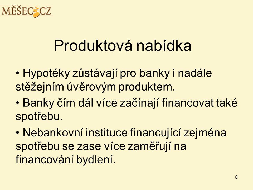 8 Produktová nabídka • Hypotéky zůstávají pro banky i nadále stěžejním úvěrovým produktem.